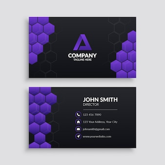 Professional business card template with purple hexagon