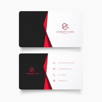 Professional business card template with red ribbon