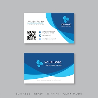 Professional business card with blue shape