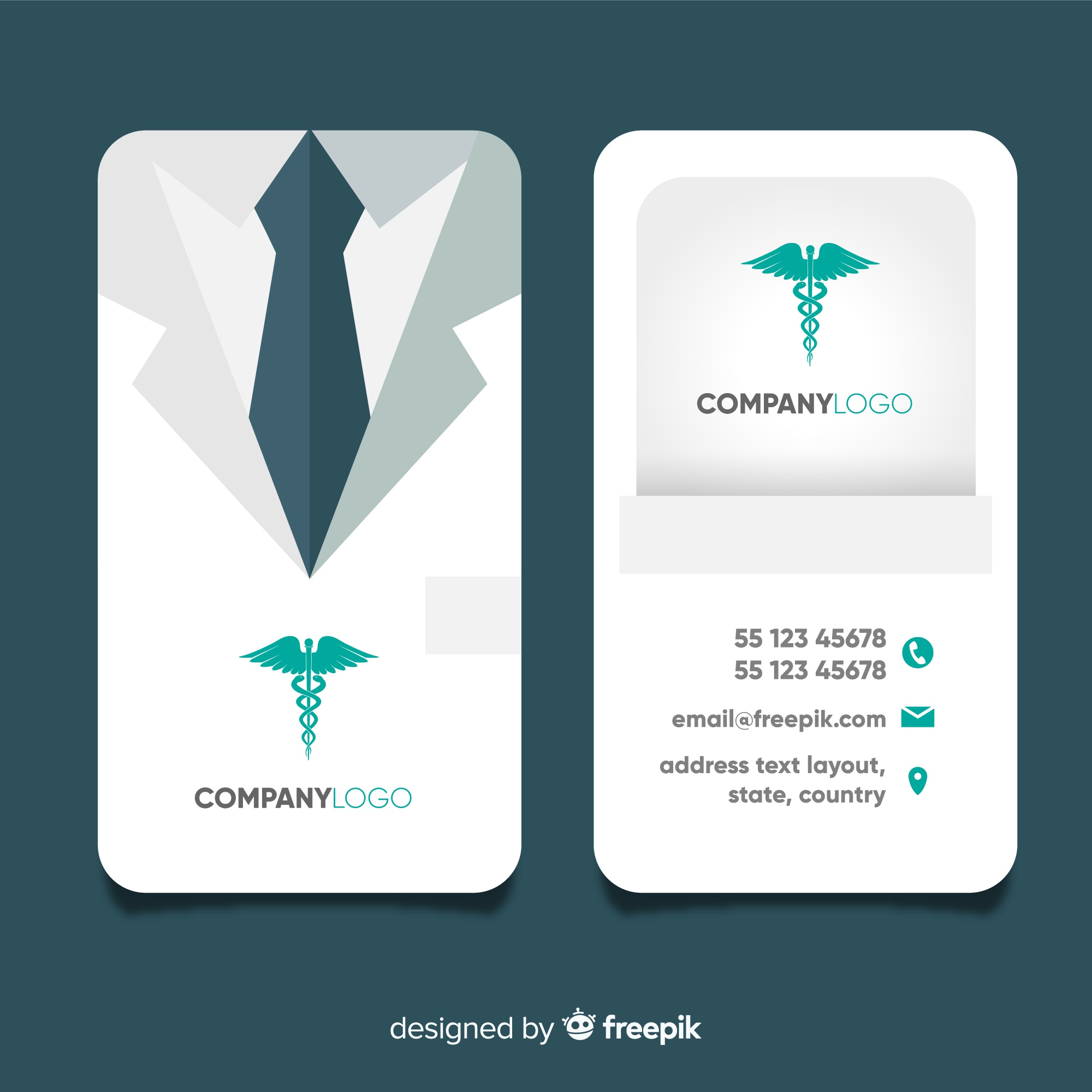 Professional business card with medical concept