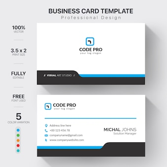 Professional business cards template with color variation