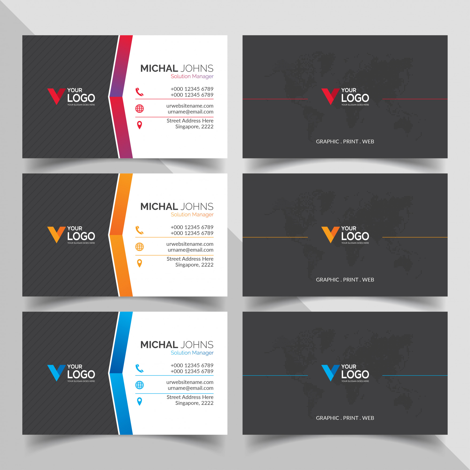 Professional business cards with gradients