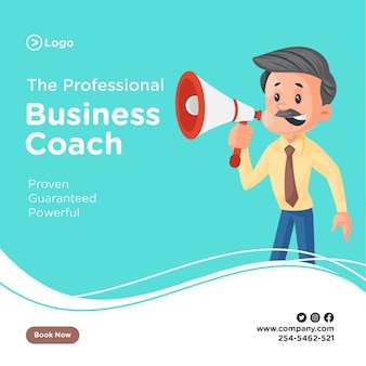 Professional business coach banner design with businessman announcing on a megaphone