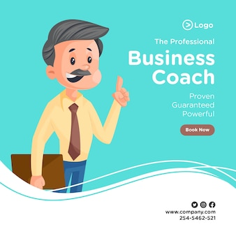 Professional business coach banner design with businessman holding a file in hand and pointing the finger