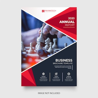 Professional business flyer template with red shapes
