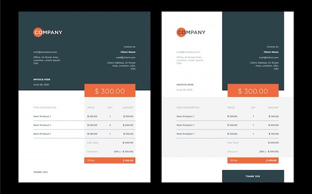 Professional business invoice template design with minimal and modern style