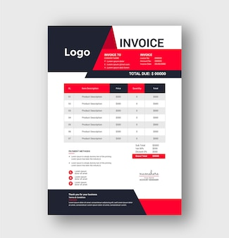 Professional business invoice with modern style template