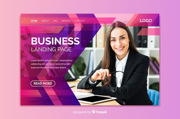 Professional business landing page with image