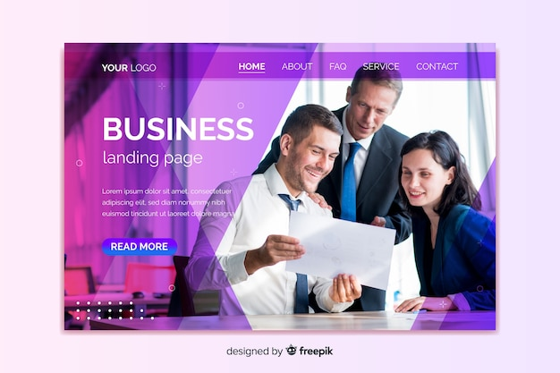 Professional business landing page with photo