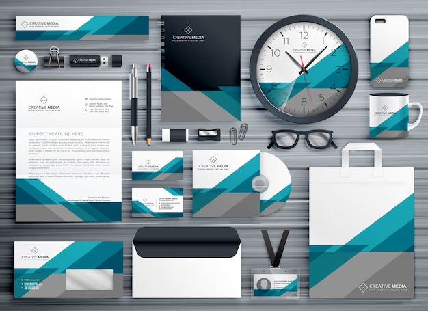 Professional business stationery design made with geometric shape