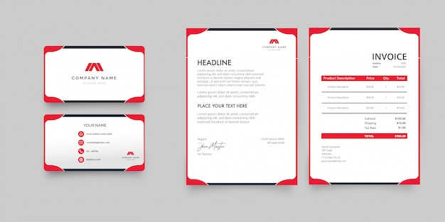 Professional business stationery pack with red shapes
