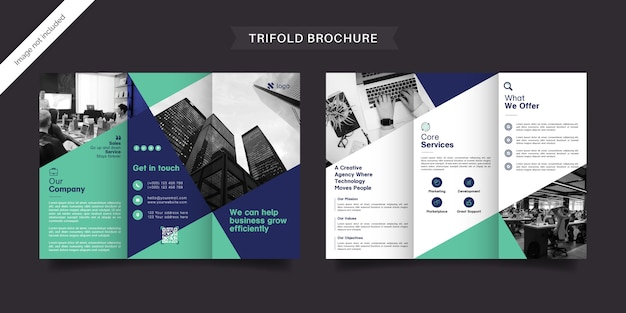 Professional business trifold brochure template