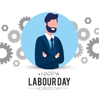 Professional businessman with gear to labour day