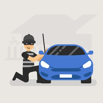 Professional car thief illustration