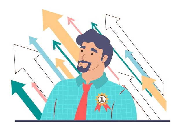 Professional career growth, business success, leadership concept vector illustration.