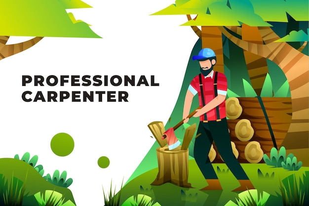 Профессиональный плотник - векторные иллюстрации