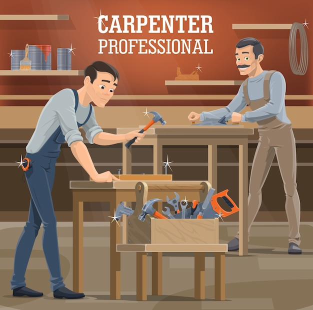 Professional carpenter workshop. woodworkers in overalls shaping board with jack plane, carpenter working in shop and hammer nails. carpentry handyman, toolbox with saw, chisel and wrenches