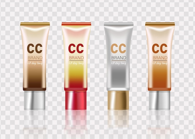 전문 cc 크림 제품은 질감이 있는 플라스틱 튜브에 기초를 조롱합니다.