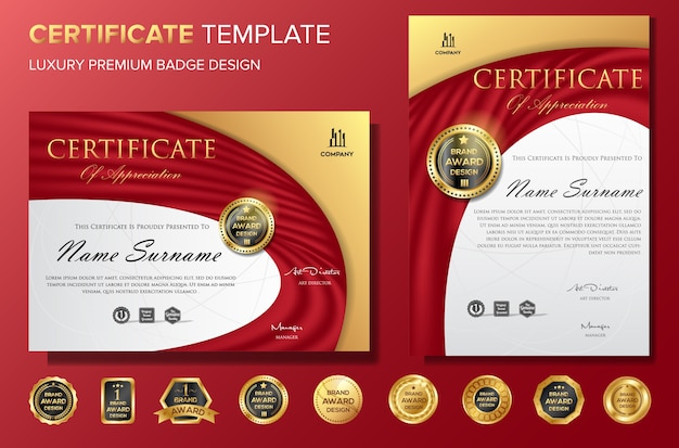 Professional certificate background template with badge