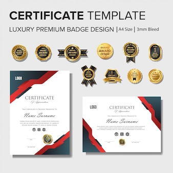 Professional certificate design template with badge set