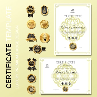 Professional certificate design with badge