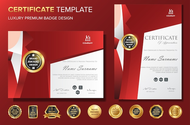 Professional certificate template bakcground luxury vector with badge