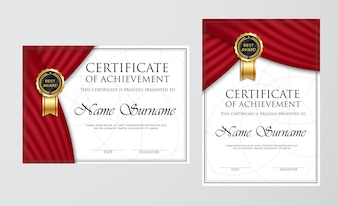Professional Certificate Template Design with red wave