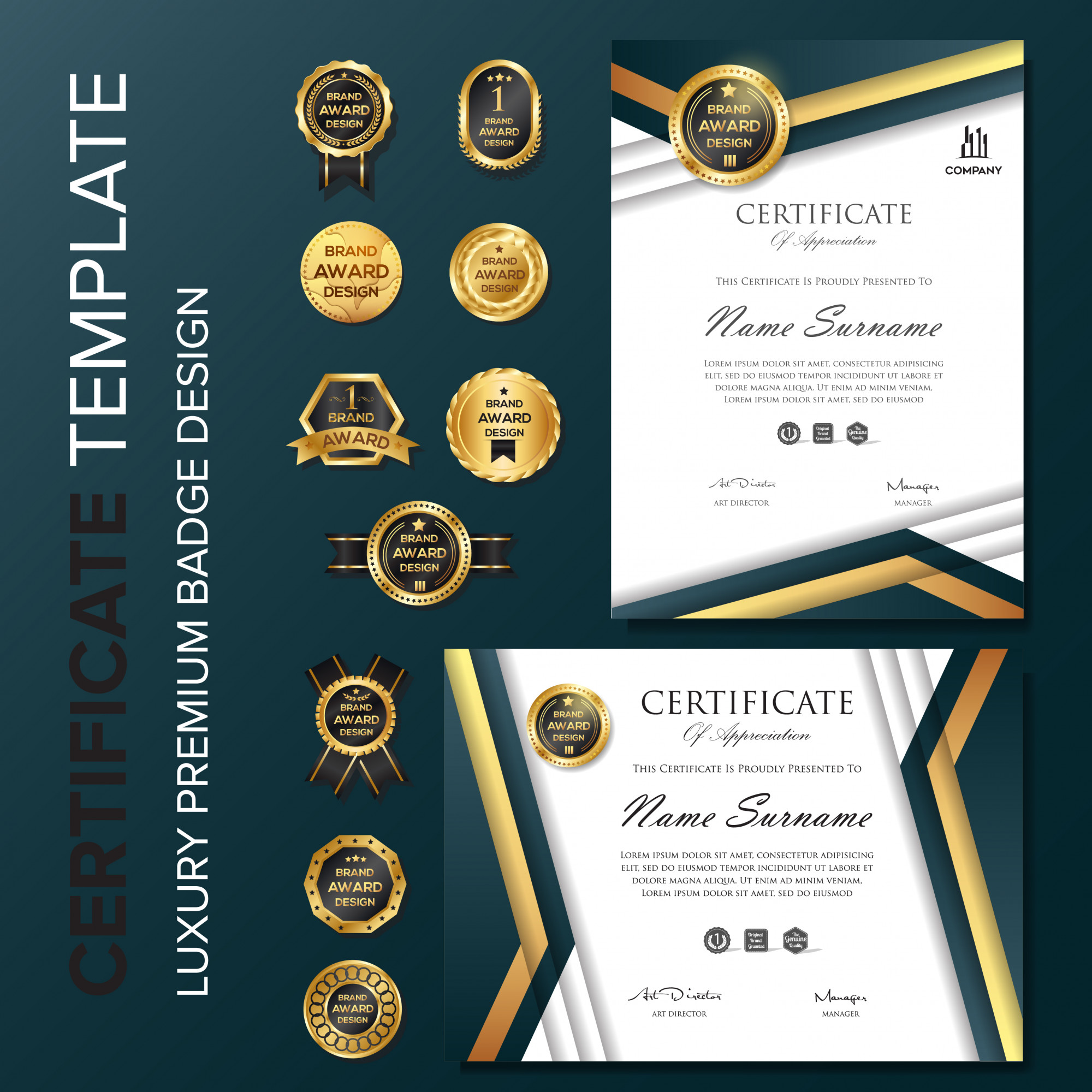 Professional Certificate with badge template
