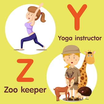 Professional character yoga instructor and zoo keeper
