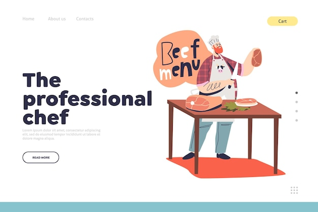 Professional chef concept of landing page with male cook making beef steak and meat dishes for restaurant. food cuisine preparation. cartoon flat vector illustration