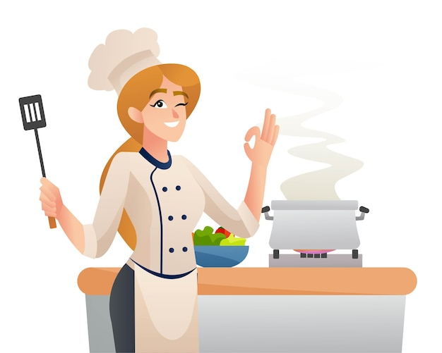 Professional chef female cooking character