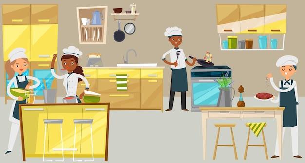 プロのシェフグループ、若者キャラクター男性女性一緒に料理レストラン食品漫画イラスト。