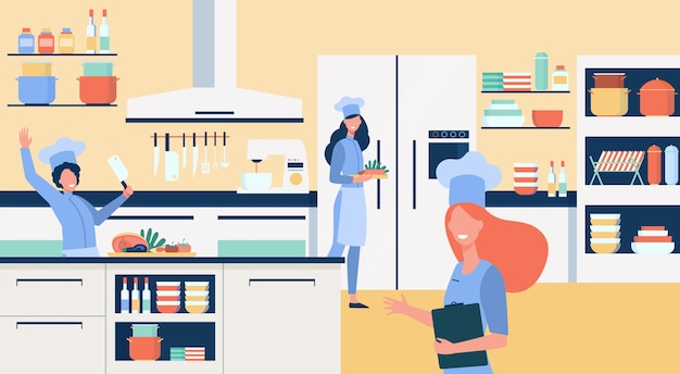 Professional chefs cooking at restaurant kitchen flat illustration.