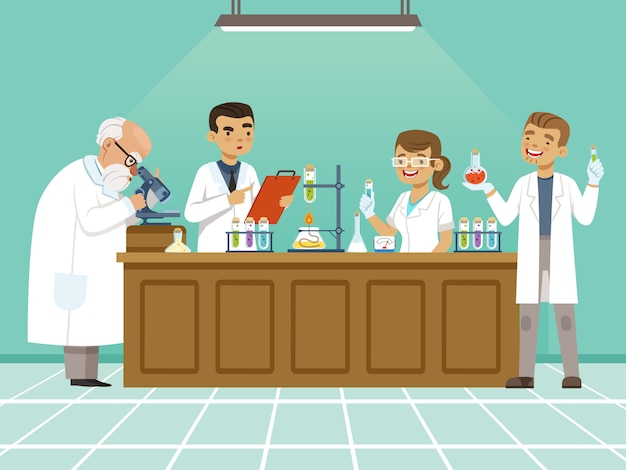 Professional chemists in their laboratory