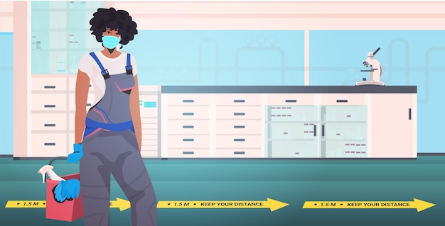 Профессиональный уборщик женщина уборщик соблюдая дистанцию, чтобы предотвратить пандемию коронавируса больница лаборатория интерьер портрет горизонтально