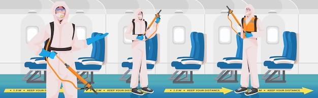 Professional cleaners in hazmat suits janitors team cleaning and disinfecting airplane to prevent coronavirus pandemic