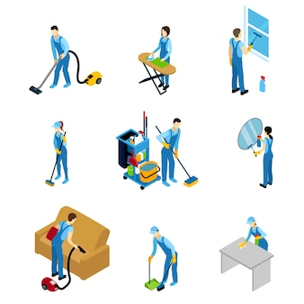 Professional cleaners isometric set