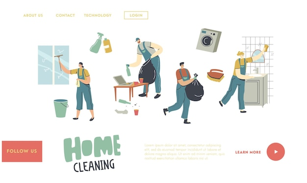 Professional cleaners service work landing page template. characters in uniform cleaning windows, bathroom and living room
