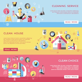 Professional cleaning horizontal banners set