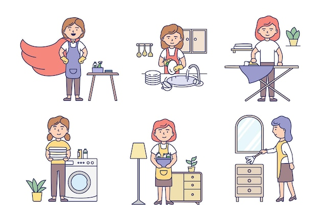 Professional cleaning service and housework concept. set of women housewives in uniform make housework using cleaning products and work tools. cartoon outline linear flat style.