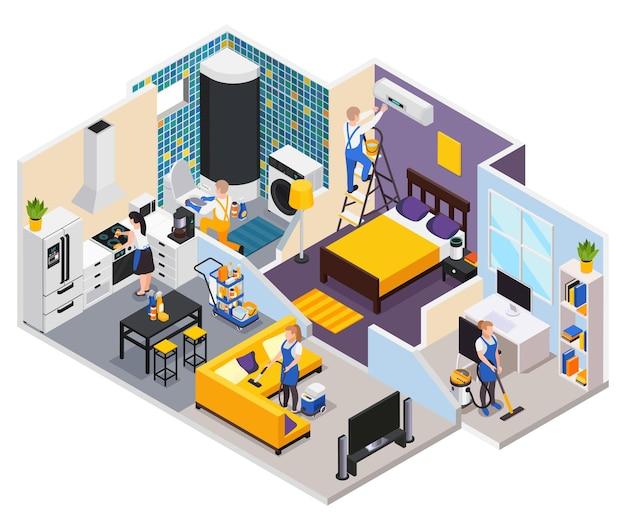 制服のイラストで労働者とプライベートアパートの部屋の縦断ビューとプロのクリーニングサービスの等角投影図