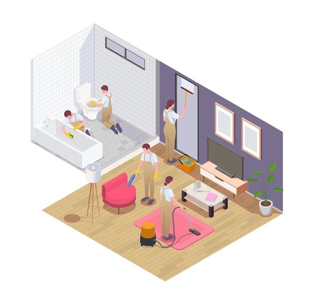 Бригада профессиональных уборщиков на работе пылесосит ковер, мебель, скребок, мытье окон, дезинфекция, ванная комната, изометрическая иллюстрация