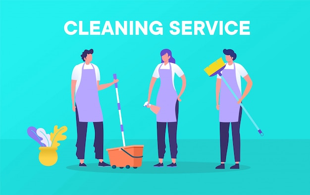 Professional cleaning service with illustration concept, man and woman working together with cleaning equipment design