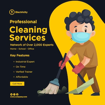 청소 남자와 전문 청소 서비스 배너 디자인은 수술 마스크를 착용하고 손에 걸레를 들고있다