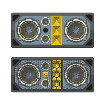 Professional concert tour array speakers colored flat style
