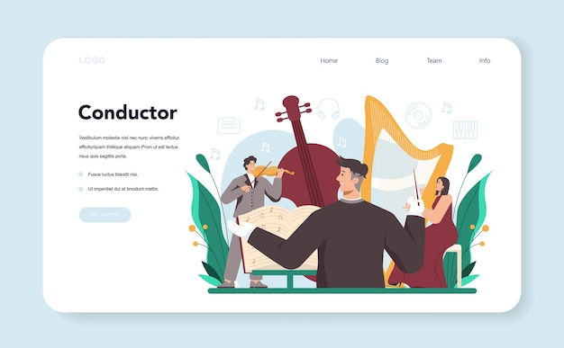 Professional conductor with musicians playing musical instruments web banner or landing page