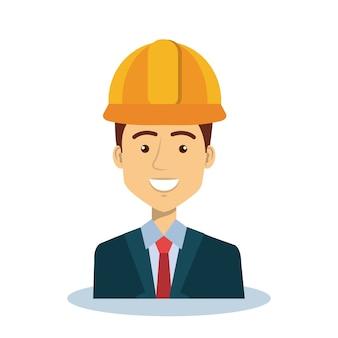 Professional construction man character vector illustration design