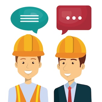 Professional construction people characters talking vector illustration design