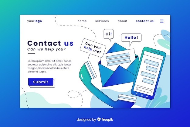 Professional contact us landing page