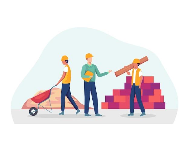 建築プロジェクトに取り組んでいるプロの請負業者とエンジニア。フラットスタイル Premiumベクター